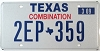 2009 TEXAS COMBINATION license plate # 2EP-359