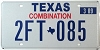 2009 TEXAS COMBINATION license plate # 2FT-085