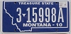 2011 Montana Treasure State # 3 15998A, Yellowstone County