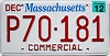 2012 MASSACHUSETTS Commercial graphic license plate # P70-181