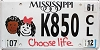 2012 Mississippi Choose Life graphic # K850