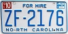 2013 North Carolina For Hire # ZF-2176