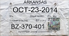 2014 Arkansas Temp Tag # BZ-370-401