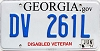 2014 Georgia Disabled Veteran # DV 261L