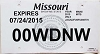 2015 Missouri Temporary Tag # 00WDNW