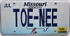 2015 Missouri Vanity graphic # TOE-NEE