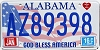 2016 Alabama God Bless America # AZ89398