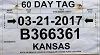 2017 Kansas 60 Day Temporary Tag # B366361