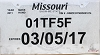 2017 Missouri Temporary Tag # 01TF5F