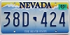 2017 NEVADA Silver State graphic license plate # 38D-424