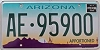 ARIZONA APPORTIONED Cactus graphic license plate # AE-95900