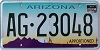 ARIZONA APPORTIONED Cactus graphic license plate # AG-23048