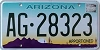 ARIZONA APPORTIONED Cactus graphic license plate # AG-28323