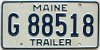 2000 base MAINE Trailer license plate # G 88518