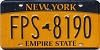 New York Empire State license plate # FPS-8190