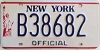1986 base NEW YORK liberty graphic OFFICIAL license plate # B38682