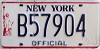 1986 base NEW YORK liberty graphic OFFICIAL license plate # B57904