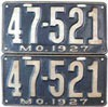 1927 Missouri license plates pair # 47-521