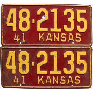 1941 Kansas pair # 2135, Rice County