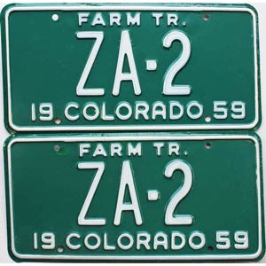 1959 Colorado Farm Tractor pair low # ZA-2, Custer County
