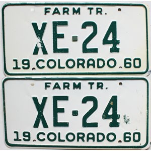 1960 Colorado Farm Tractor pair # XE-24, Alamosa County