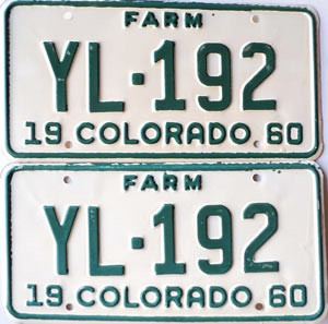 1960 Colorado Farm Truck pair # YL-192, Teller County