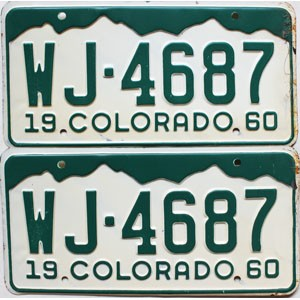 1960 Colorado pair # WJ-4687, Rio Grande County