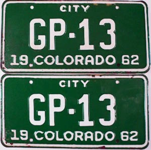 1962 Colorado City pair low # GP-13, Pueblo County