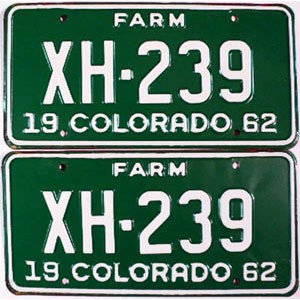 1962 Colorado Farm Truck pair # XH-239, Chaffee County