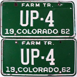 1962 Colorado Farm Tractor pair low # UP-4, Fremont County
