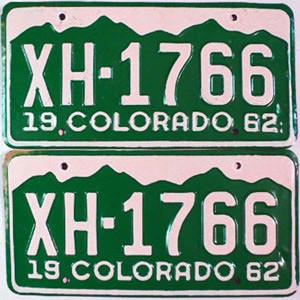 1962 Colorado pair # XH-1766, Chaffee County