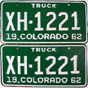 1962 Colorado Truck pair # XH-1221, Chaffee County