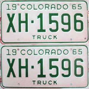 1965 Colorado Truck pair # XH-1596, Chaffee County