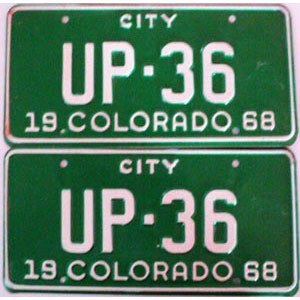 1968 Colorado City pair low # UP-36, Fremont County