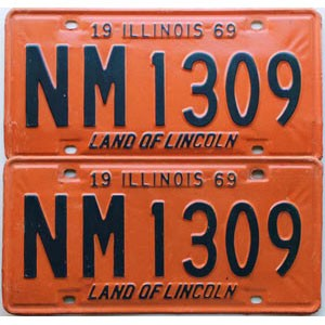 1969 Illinois pair # NM 1309