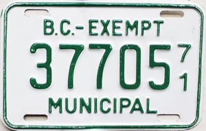 1971 British Columbia Municipal Exempt # 37705