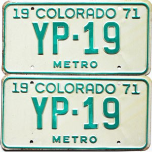 1971 Colorado Metro pair low # YP-19, Kiowa County