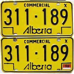 1976 Alberta Commercial pair # 311-189