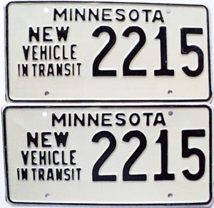 1976 Minnesota New Vehicle In Transit pair # 2215