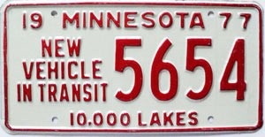 1977 Minnesota New Vehicle In Transit # 5654