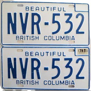 1978 British Columbia pair # NVR-532