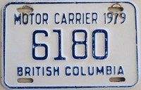 1979 British Columbia Motor Carrier License Plate 6180