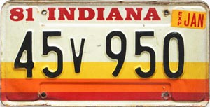 1981 Indiana graphic # 45v950