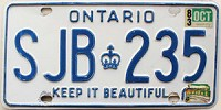 1983 ONTARIO Keep It Beautiful license plate # SJB-235