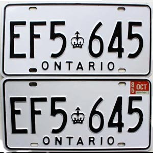1985 Ontario Commercial pair # EF5-645