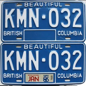 1986 British Columbia pair # KMN-032