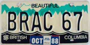 1988 British Columbia Vanity graphic # BRAC 67