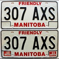 1988 Manitoba friendly pair # 307-AXS