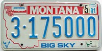 1991 Montana Bicentennial graphic # 3-175000, Yellowstone County