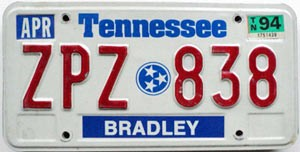 1994 Tennessee graphic # ZPZ-838